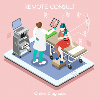 medical clinic consulting app online remote checkup visit infographics