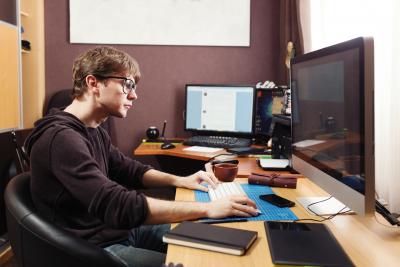 freelance developer at home office