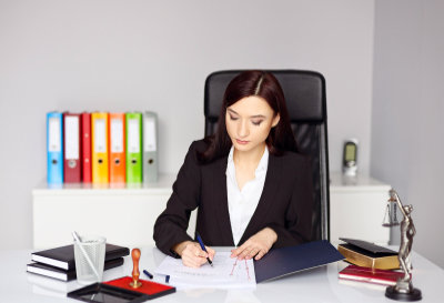 woman notary a document